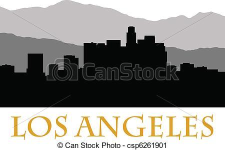 Los Angeles clipart Vector skyline of los