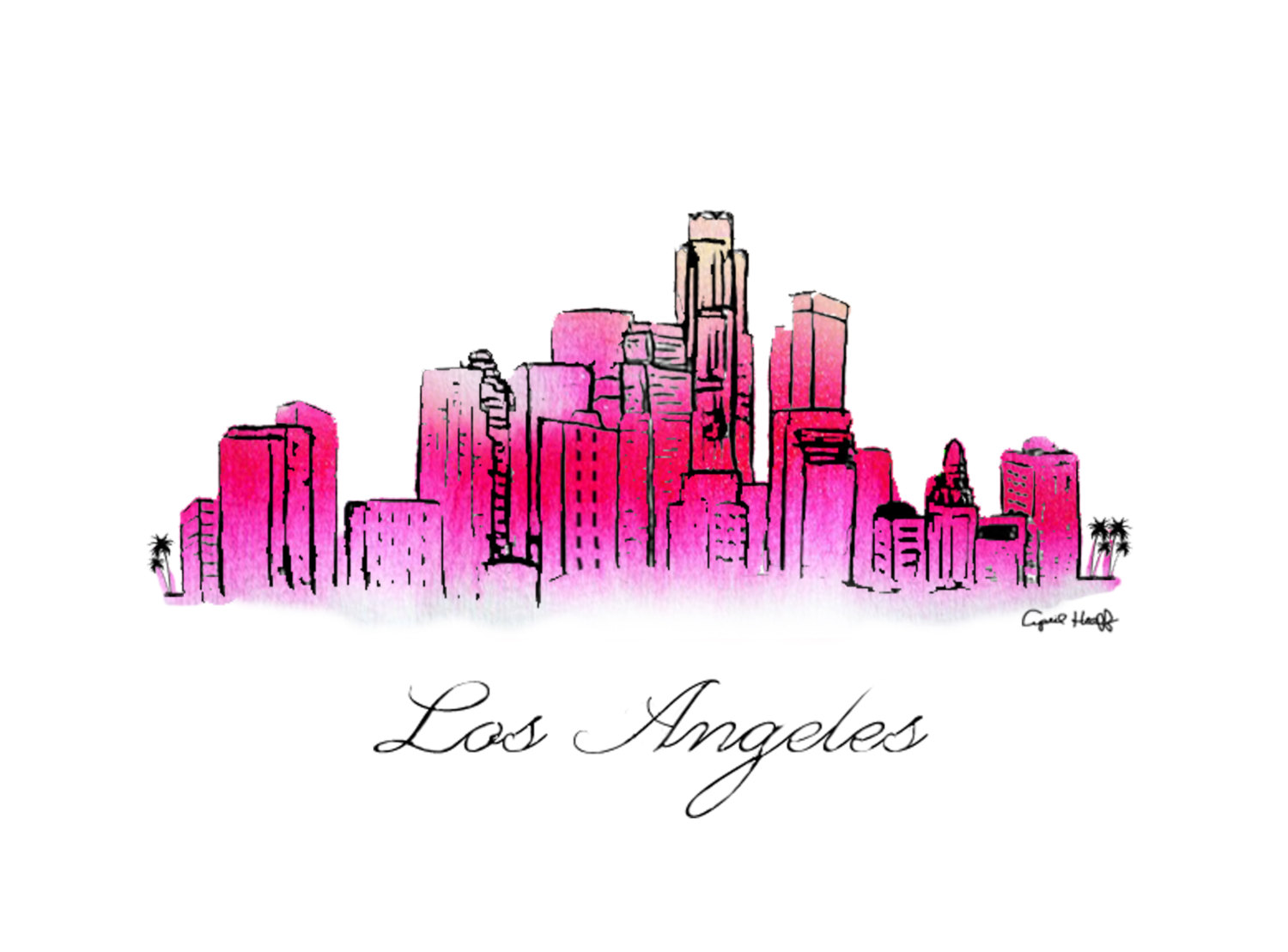 Los Angeles clipart Los Angeles Skyline Silhouette Palm Trees #6