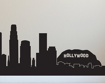 Los Angeles clipart Los Angeles Skyline Silhouette Palm Trees #3