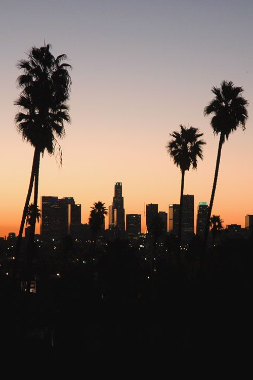 Los Angeles clipart Los Angeles Skyline Silhouette Palm Trees #4