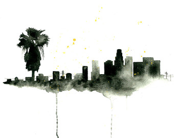 Los Angeles clipart Los Angeles Skyline Silhouette Palm Trees #5