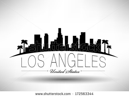 Los Angeles clipart Los Angeles Skyline Silhouette Palm Trees #1