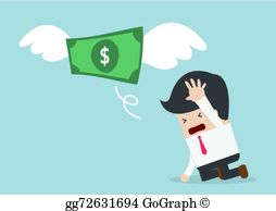 Loss clipart lost money Money is b Businessman Vector