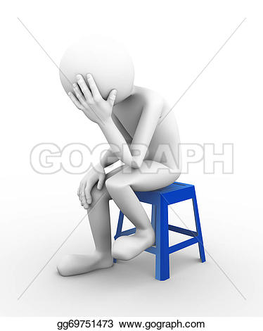 Loss clipart unhappy person Of man on Stock sad
