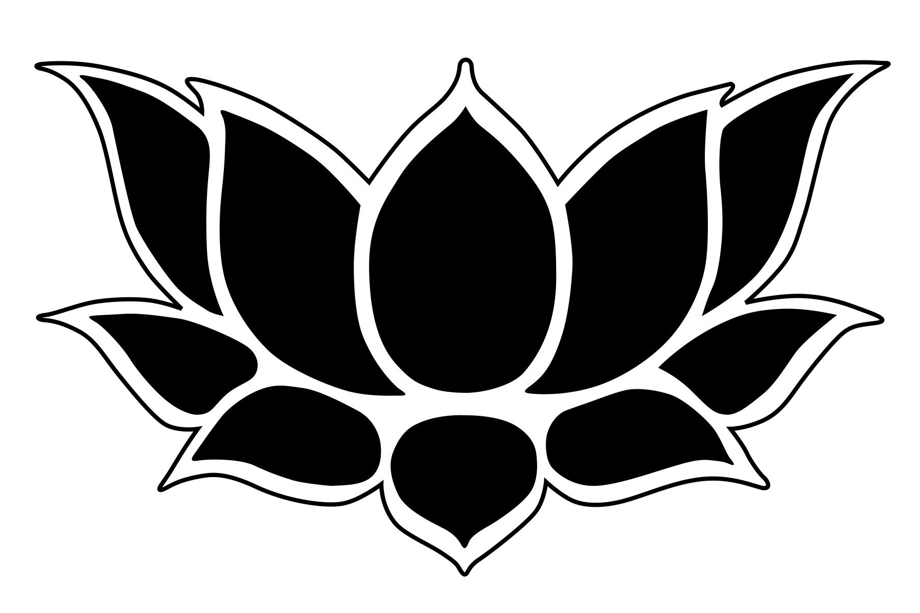 Simple clipart lotus Outline Free Flower Clipart Stencil