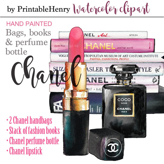 Makeup clipart chanel perfume Chanel fashion ◅ Watercolor art