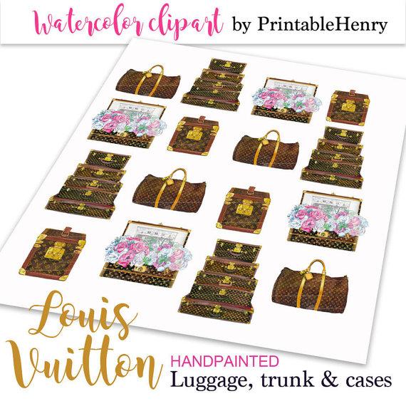 Louis Vuitton clipart popular fashion Clipart Vuitton vintage watercolor Louis