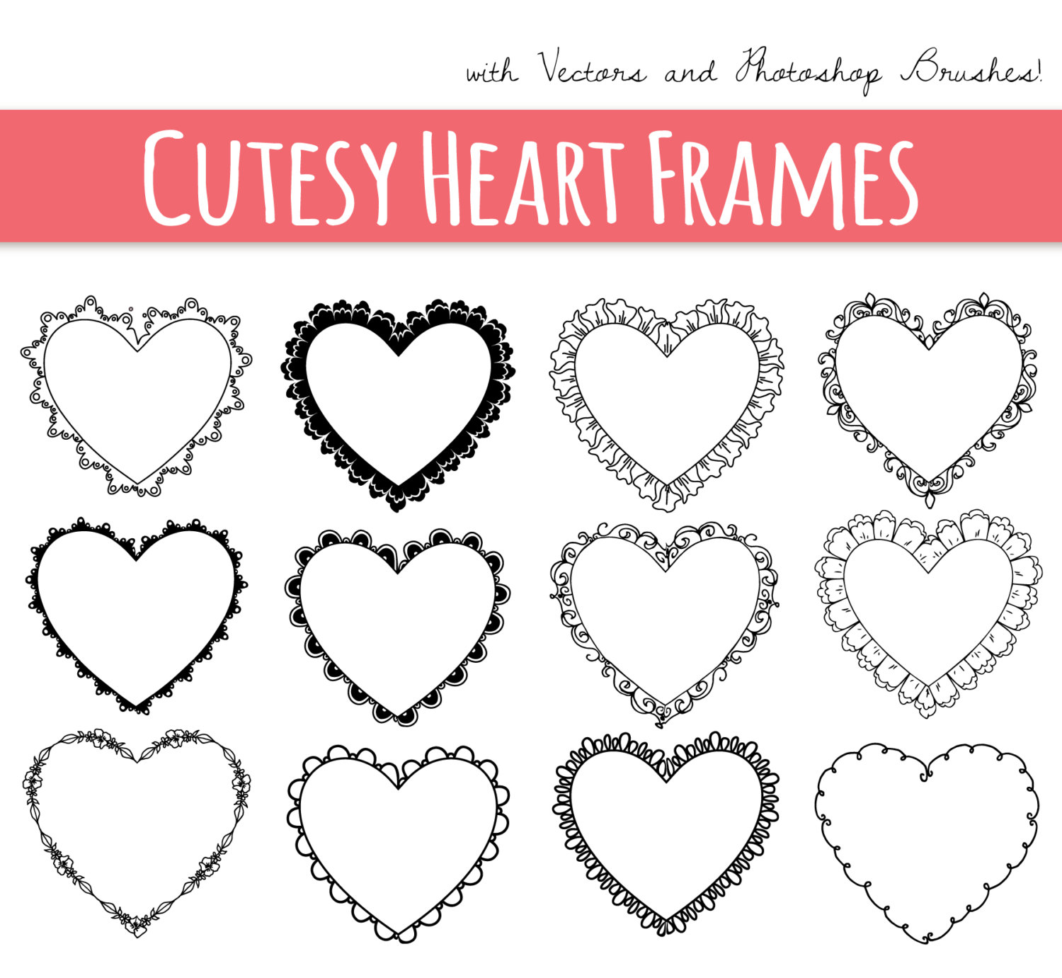 Decoration clipart heart outline Border Frame digital // Digital