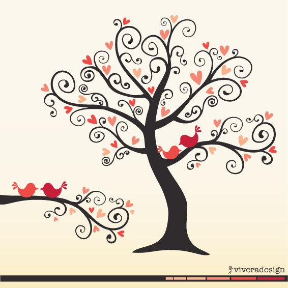 Branch clipart whimsical tree Clip Love Birds art digital