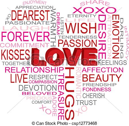 Kisses clipart the word  csp12773468 Word Heart Cloud