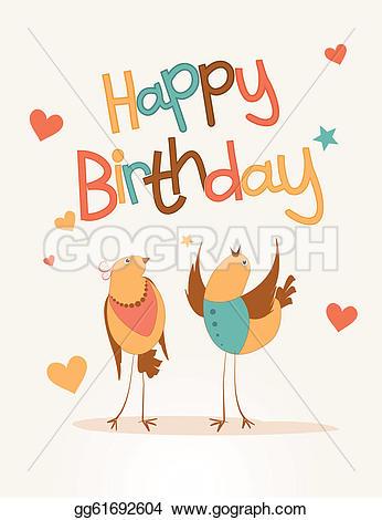 Birthday clipart bird Love card bird Happy EPS