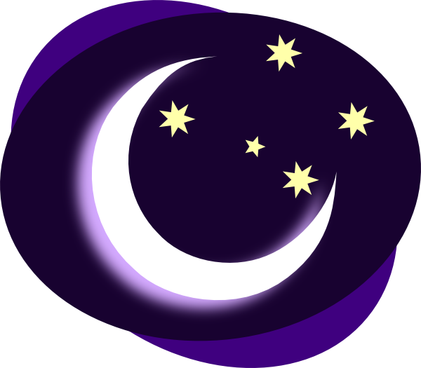 Night clipart moon star Clip & art purple clip