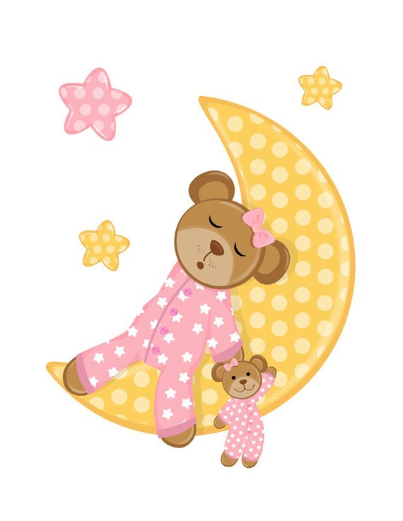 Moon clipart baby shower Mural Star Shower Forest NIGHT