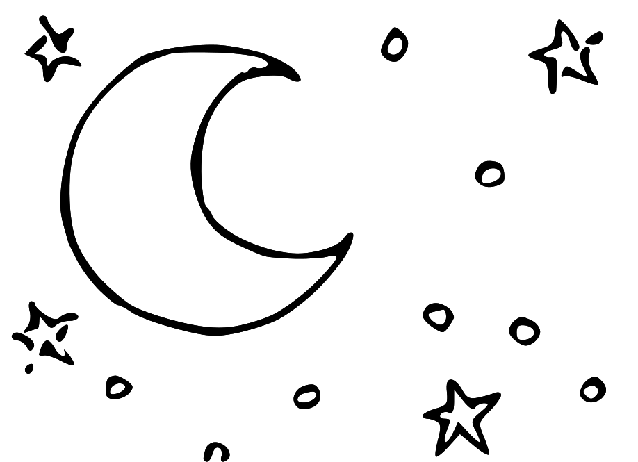 Drawn night sky clipart White 50 Black Moon and