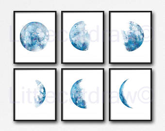 Lunar clipart blue moon Minimalist Print Blue 6 3