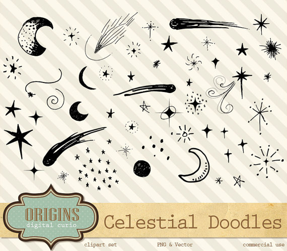Lunar clipart celestial Moon Celestial Clipart by and