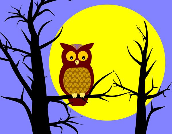 Moonlight clipart tree Owl about clip Clip art