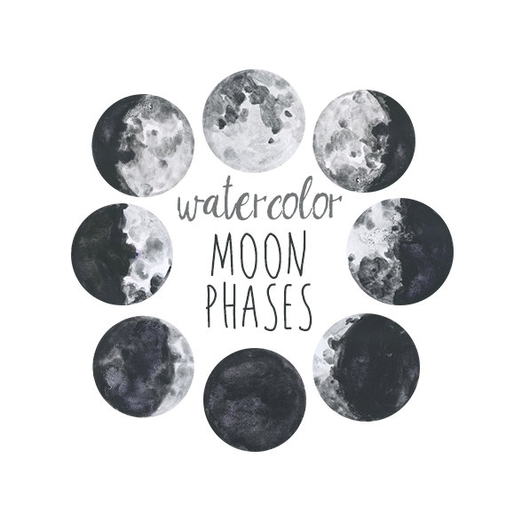 Lunar clipart graphic Chart Watercolor Watercolor Phases Clipart