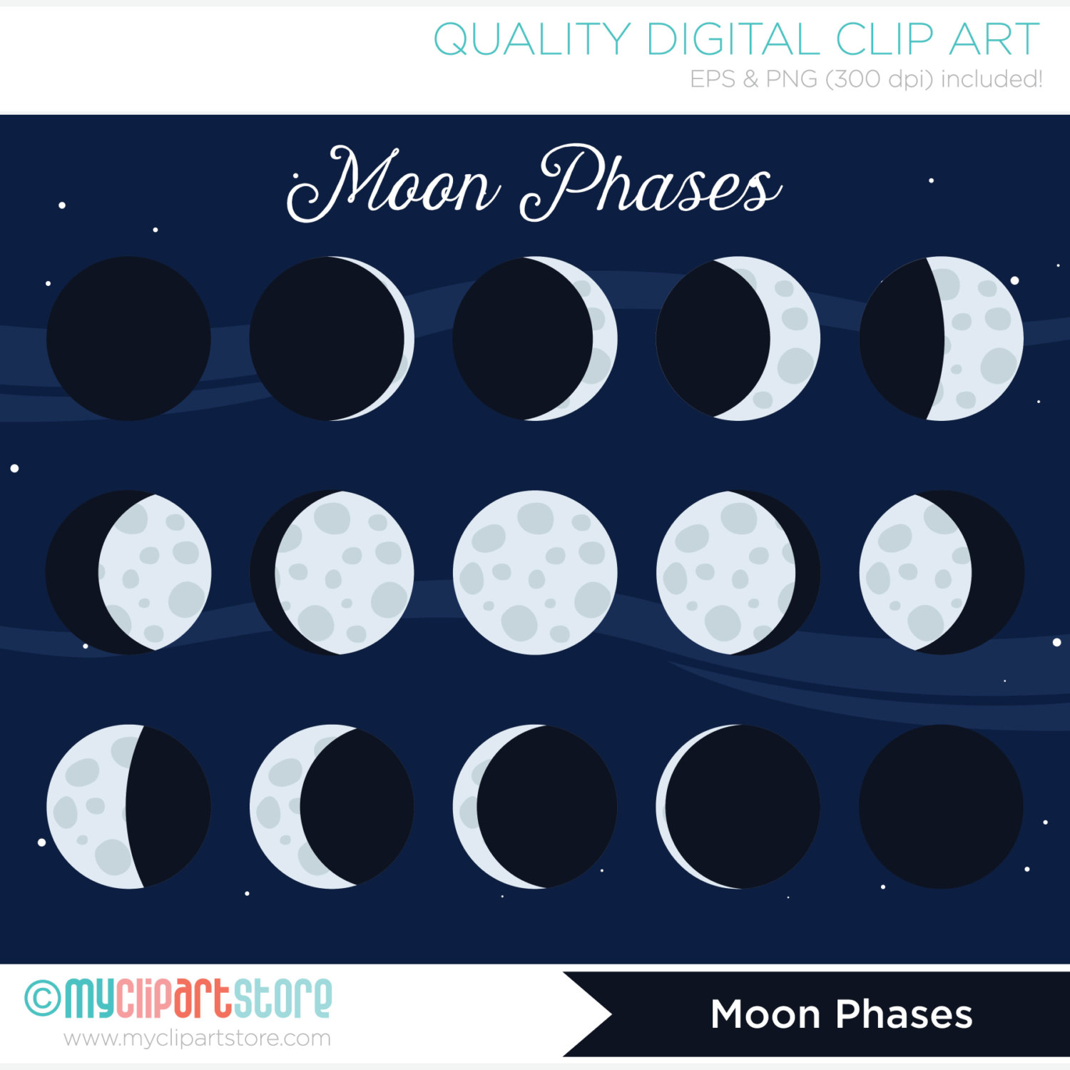 Lunar clipart kawaii Phases Cycles Outer a