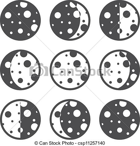 Lunar clipart phase the moon 8 EPS Vector Moon phases