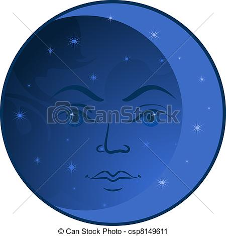 Lunar clipart round Moon EPS Clip of white
