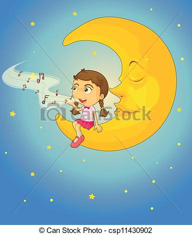 Lunar clipart sad Csp11430902 Vector illustration moon and