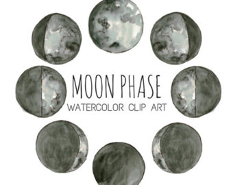 Lunar clipart silver Watercolor Space Art Phases Clip