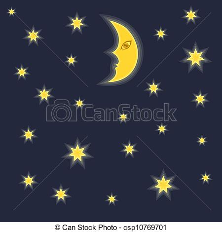 Night clipart moon star And stars Vector and clipart