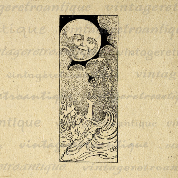 Lunar clipart victorian Digital Graphic Clip Download Vintage
