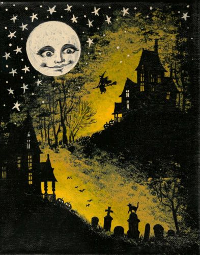 Lunar clipart vintage halloween 4x6 about cat Moon Details