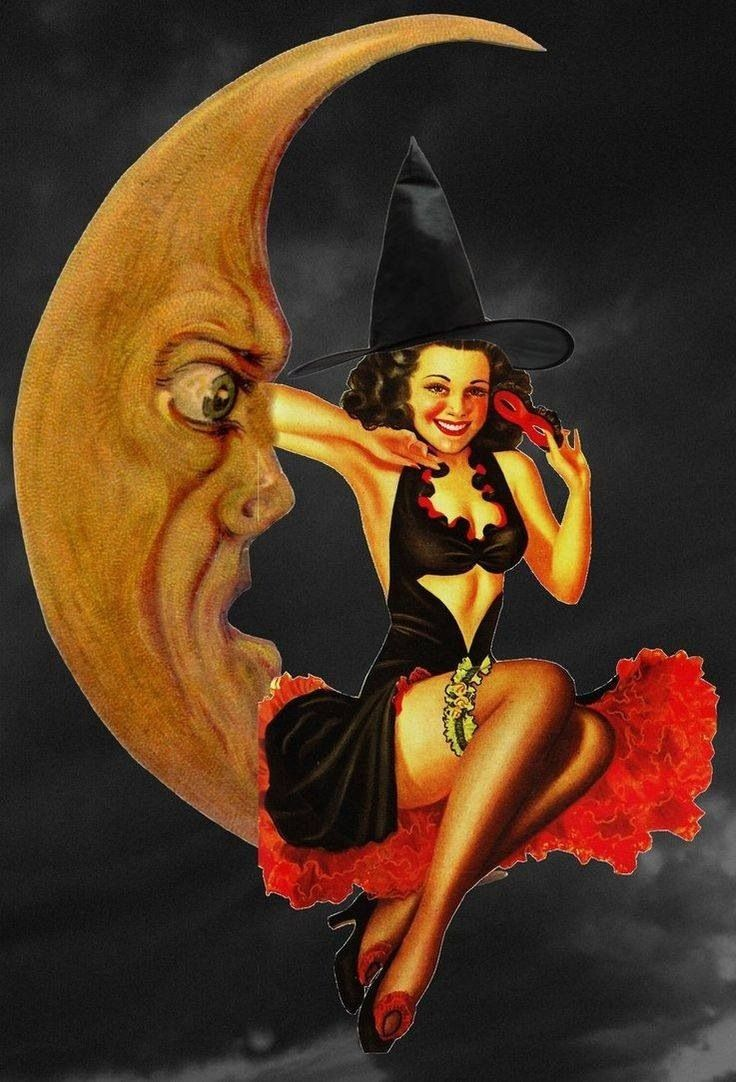 Lunar clipart vintage halloween & 256 Sun Stars Witch