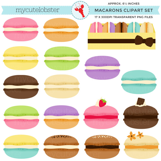 Macaron clipart Of art macarons clip set