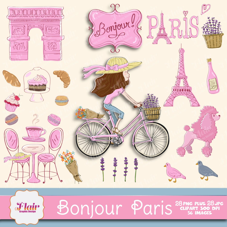 Drawn poodle themed Lavender Macarons Eiffel Paris Drawn