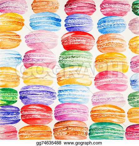 Macaron clipart french bakery  Beautiful painted Stock with