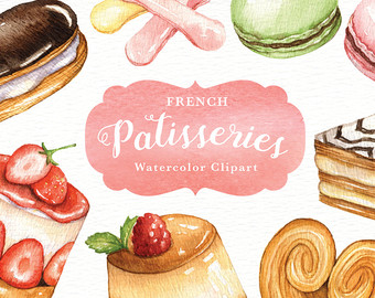 Macaron clipart french bakery French watercolor menu Etsy clipart