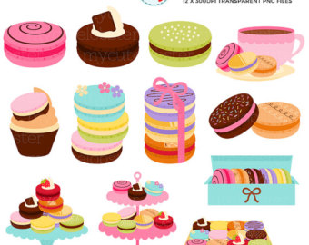 Macaron clipart french bakery Sweet clip macaroons box Set