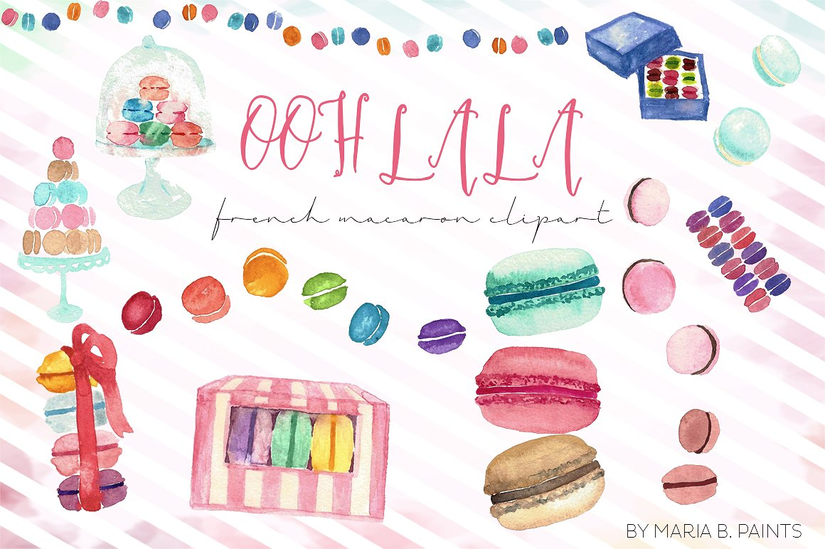 Macaron clipart french macaron Illustrations Watercolor Clip Art French