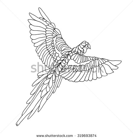 Red-and-green Macaw clipart Coloring page white parrot hand