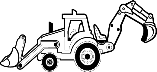 Excovator clipart black and white #11