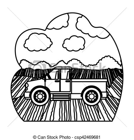 Machine clipart farm truck Vector and illustration theme Isolated
