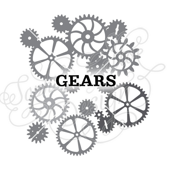 Machine clipart steampunk gear Digital by DXF Cogs download