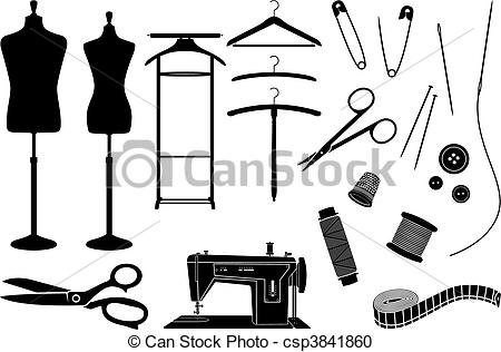 Coture clipart black and white Tailoring of Vector Clipart equipment