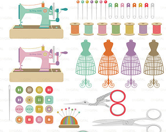 Machine clipart thread Pincushion craft  Set scissors
