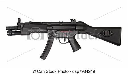 Machine Gun clipart modern Submachine Weapon Modern view side