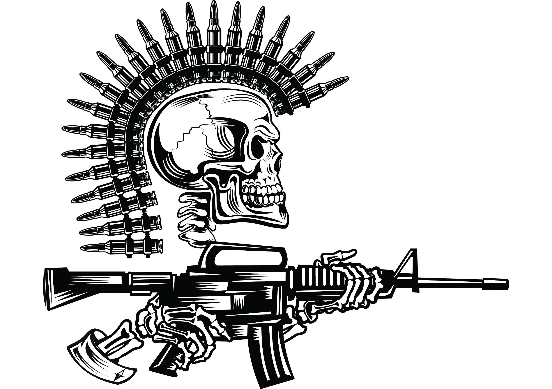 Mohawk clipart logo  Gun Skull This Weapon