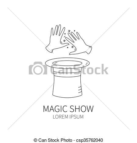 Magician clipart hand Style logotype magician magic Vector