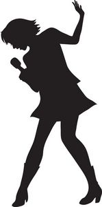 Singer clipart two Singing_girl_stamp female famous cartoon microphone