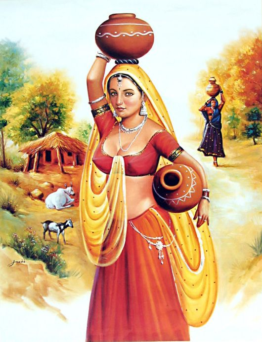Maiden clipart village woman Art Paintings Indian Hindu Indian