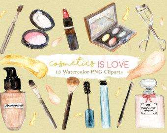 Makeup clipart chanel perfume Studio Watercolor Fashion Etsy Makeup