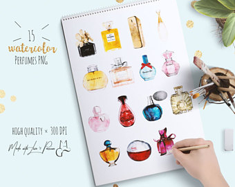 Makeup clipart chanel perfume Set Planner Watercolor Girl Clipart